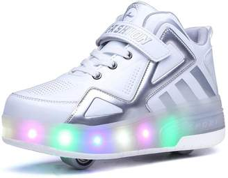 Super color Kids Boys Girls LED Light up Single Wheel Double Wheel Roller Skate Shoes Sneakers High-Top Shoes