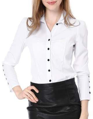 Unique Bargains Women's Point Collar Long Sleeve Ruched Button Decor Cuffs Shirt