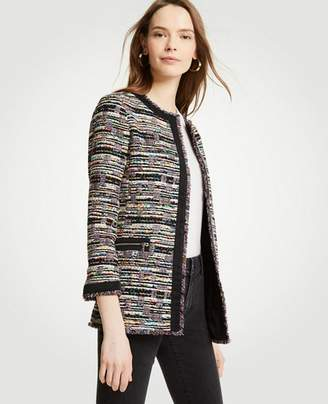 Ann Taylor Mixed Tweed Zip Pocket Jacket