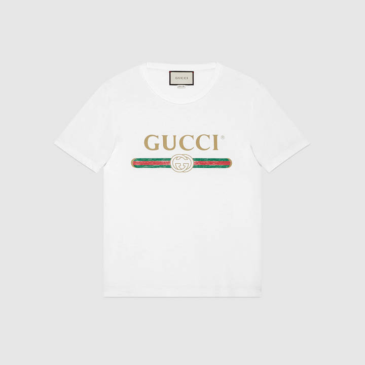 Washed t-shirt with Gucci print 4