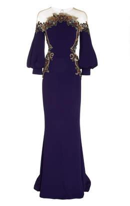 Marchesa Embroidered Crepe Satin Illusion Neckline Gown