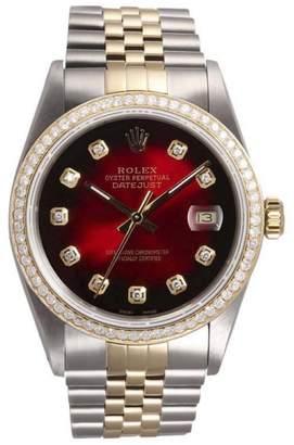 Rolex Datejust Stainless Steel & 18K Yellow Gold Red Vignette Diamond Dial & Bezel 36mm Mens Watch