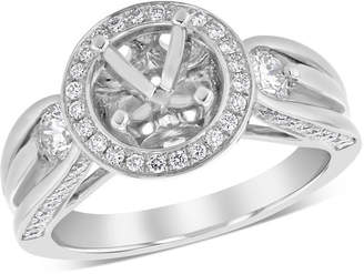 Zales Previously Owned - 5/8 CT. T.W. Diamond Frame with Side Accents Semi-Mount in 14K White Gold - Size 6