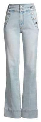 Current/Elliott Women's The Maritime High-Waist Button Flare Jeans - Blue Wave - Size 24 (0)