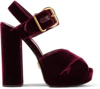 Prada Velvet Platform Sandals - Burgundy