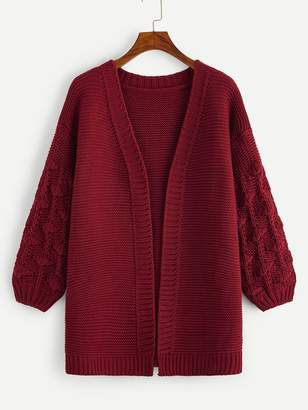 Shein Crochet Knit Sleeve Open Front Cardigan