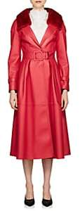 Fendi Women's Fur-Collar Belted Leather Coat - Red