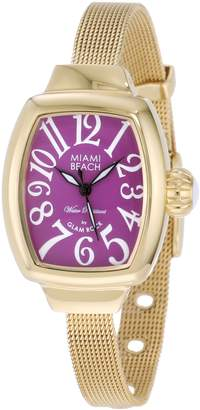 Glam Rock Women's MBD27072 Miami Beach Art Deco Purple Dial Gold Ion-Plated Mesh Stainless Steel Watch