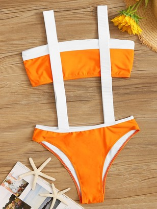 8f9414b3f63 Shein Colorblock Bandeau Top With Suspender Two Piece Swim