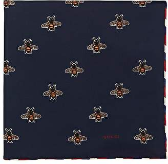 Gucci Men's Bee-Print Silk Pocket Square