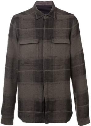 Rick Owens textured plaid shirt