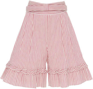 Luisa Beccaria Striped Ruffle Cotton-Blend Bermuda Shorts