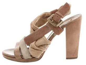Brunello Cucinelli Leather Crossover Sandals
