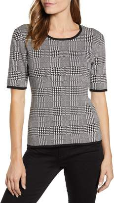 Vince Camuto Short Sleeve Plaid Sweater