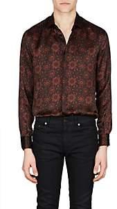 Saint Laurent Men's Tapestry Silk Satin Shirt-Md. Red