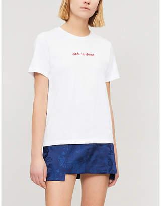 Izzue Slogan-embroidered cotton-jersey T-shirt