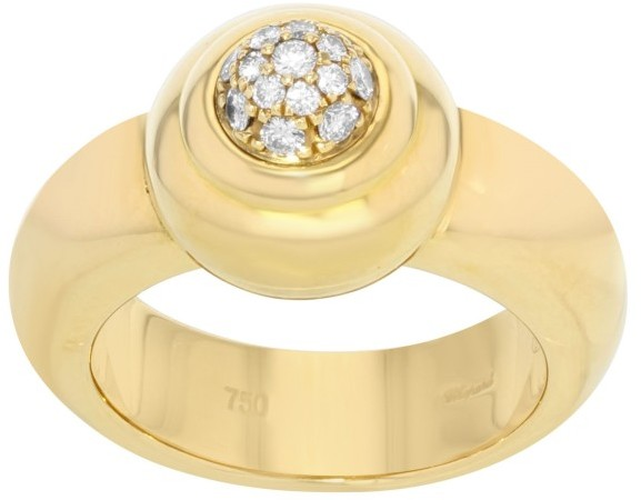 ChopardChopard 18K Yellow Gold & 0.23 Cttw Diamond Pave Ring Size 6.5