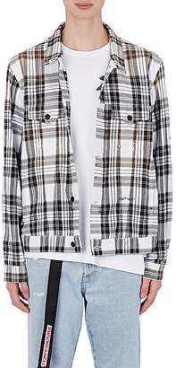 Off-White MEN'S GRADIENT CHECKED COTTON-BLEND SHIRT JACKET