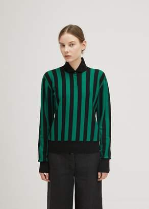 J.W.Anderson Stripe High Neck Sweater Emerald