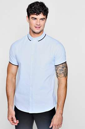 boohoo Short Sleeve Oxford Shirt With Tipped Collar