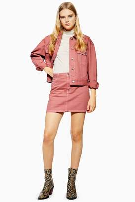 Topshop Pink Denim Skirt