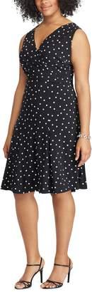 Chaps Plus Size Polka-Dot Fit & Flare Dress
