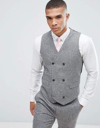 Asos DESIGN Wedding Skinny Suit Vest In 100% Silk Textured Gray