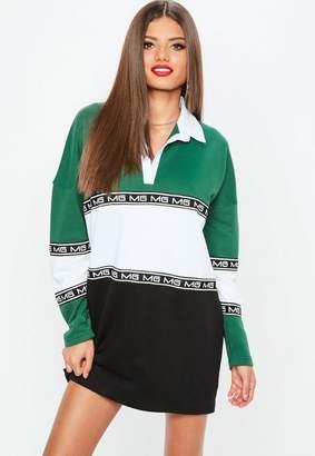 Missguided Green MG Colourblock Rugby Shirt Dress, Green