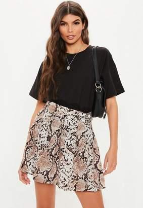Missguided Stone Snake Print Pleated Mini Skirt