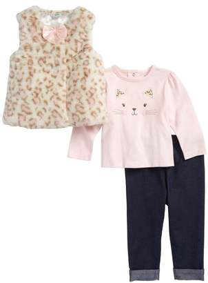 Little Me Leopard Faux Fur Vest, Tee, & Jeggings 3-Piece Set (Baby Girls)