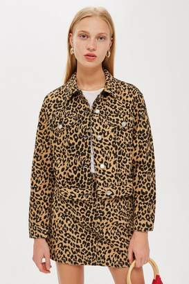 Topshop Leopard Fitted Denim Jacket