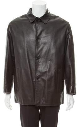 Prada Leather Three-Button Car Coat