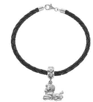 LogoArt Sterling Silver & Leather Phi Mu Sorority Lion Bracelet