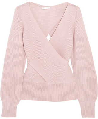 TOME - Wrap-effect Ribbed Wool Sweater - Blush $575 thestylecure.com