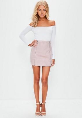 Missguided Petite Mauve Faux Suede Double Zip Mini Skirt