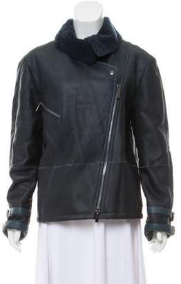 Paper Denim & Cloth Shearling Accented Leather Biker Jacket