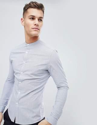 Asos DESIGN smart skinny stripe work shirt with grandad collar