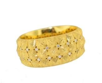 Buccellati 18K Yellow Gold Diamond Wide Cuff Bangle Bracelet