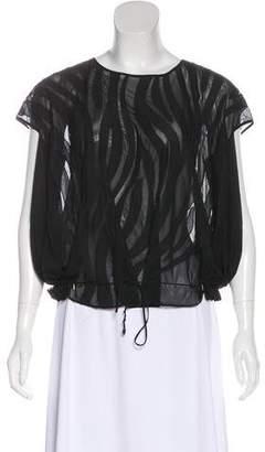 Diane von Furstenberg Semi-Sheer Cap Sleeve Top