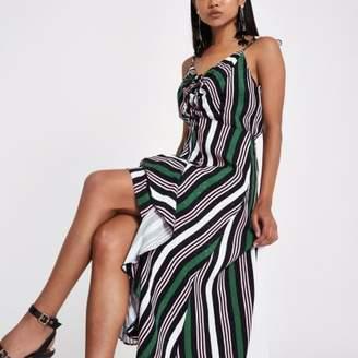 River Island Womens Petite green stripe ruffle ruched midi dress