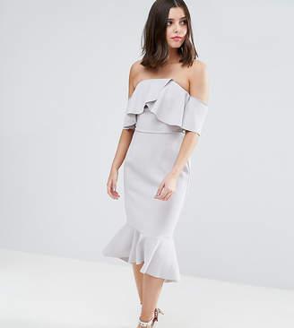 8fb9c5a7a1b4b True Decadence Petite Exagerated Frill Bandeau Midi Dress With Peplum Hem