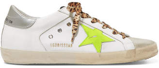 Golden Goose Superstar Distressed Neon-trimmed Leather, Suede And Canvas Sneakers - White