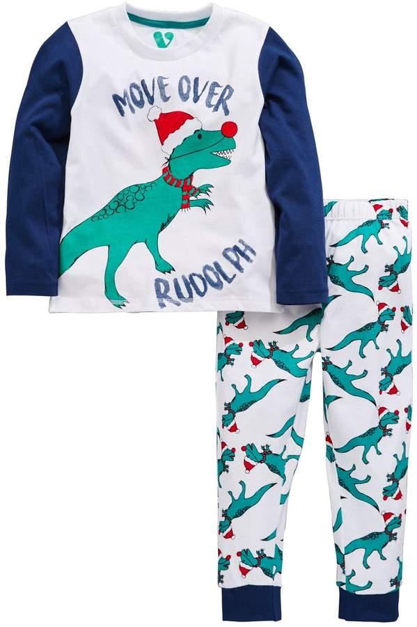 Mini V by Very Boys Dinosaur Rudolph Christmas Pyjamas