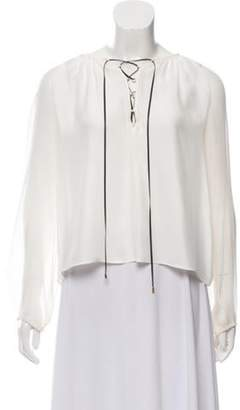 Altuzarra Silk Lace-Up Blouse white Silk Lace-Up Blouse