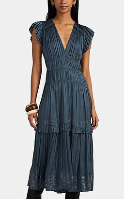 Ulla Johnson Women's Claudia Embroidered Midi-Dress - Blue
