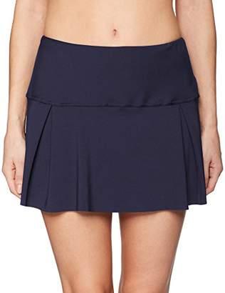 Nautica Women's Solid Pleated Swim Skirt Bikini Bottom