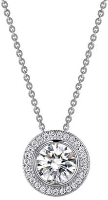 Lafonn Platinum Over Sterling Silver Simulated Diamond Halo Pendant Necklace