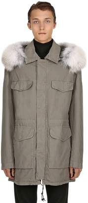 Mr & Mrs Italy Hooded Coated Cotton Parka W/ Fox Fur
