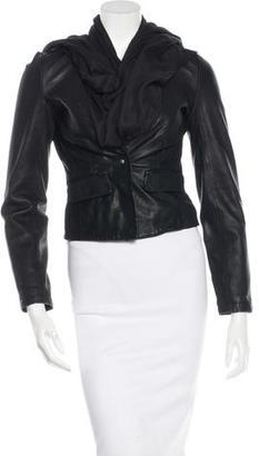 AllSaints Leather Draped Jacket $265 thestylecure.com