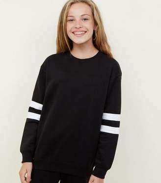 New Look Girls Black Stripe Sleeve Longline Sweatshirt